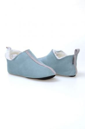 Pegia Women House Shoes From Genuine Suede And Sheepskin Fur 191094 Turquoise
