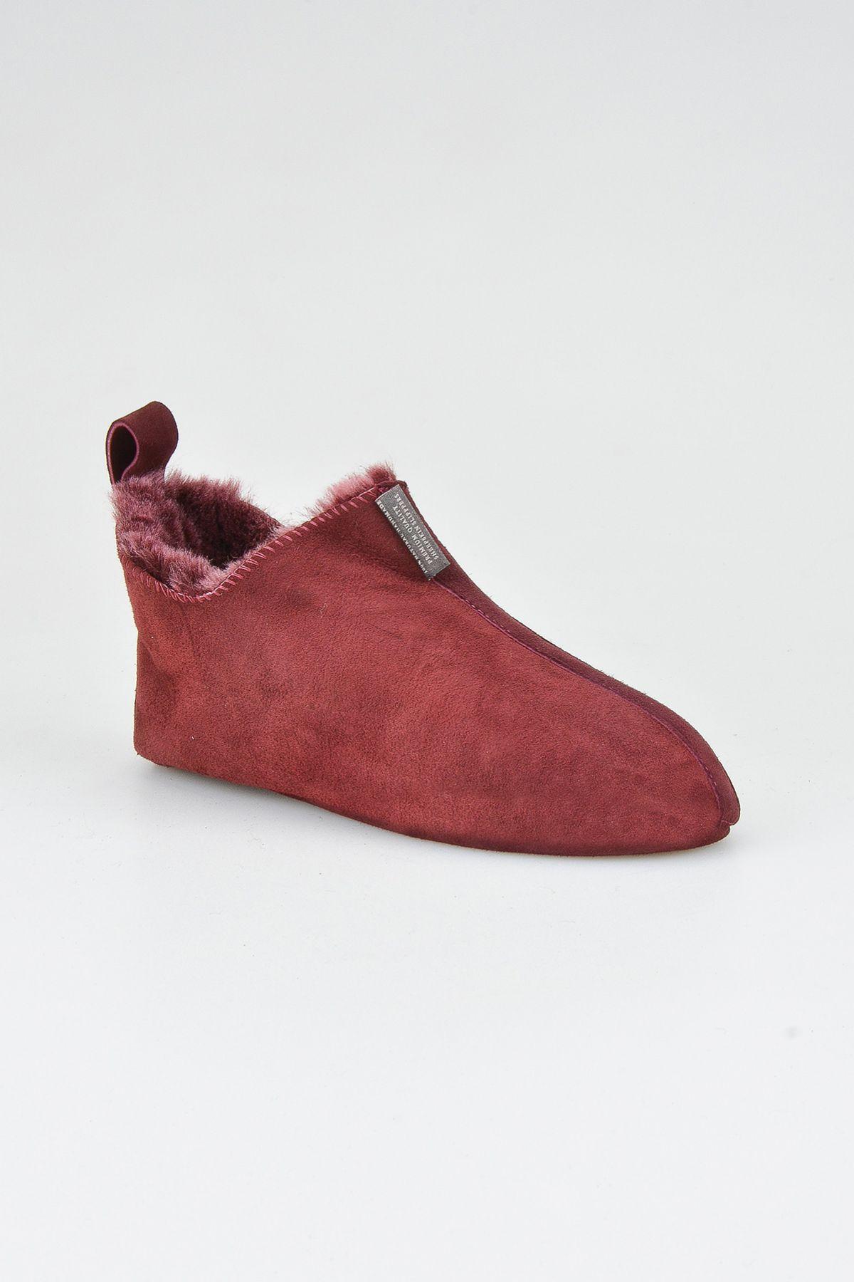 Pegia Hakiki Süet İçi Kürk Bayan Ev Ayakkabısı 191094 Bordo