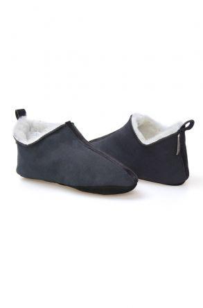 Pegia Hakiki Süet İçi Kürk Bayan Ev Ayakkabısı 191094 Füme