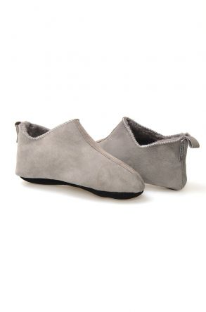 Pegia Women House Shoes From Genuine Suede And Sheepskin Fur 191094 Light Gray