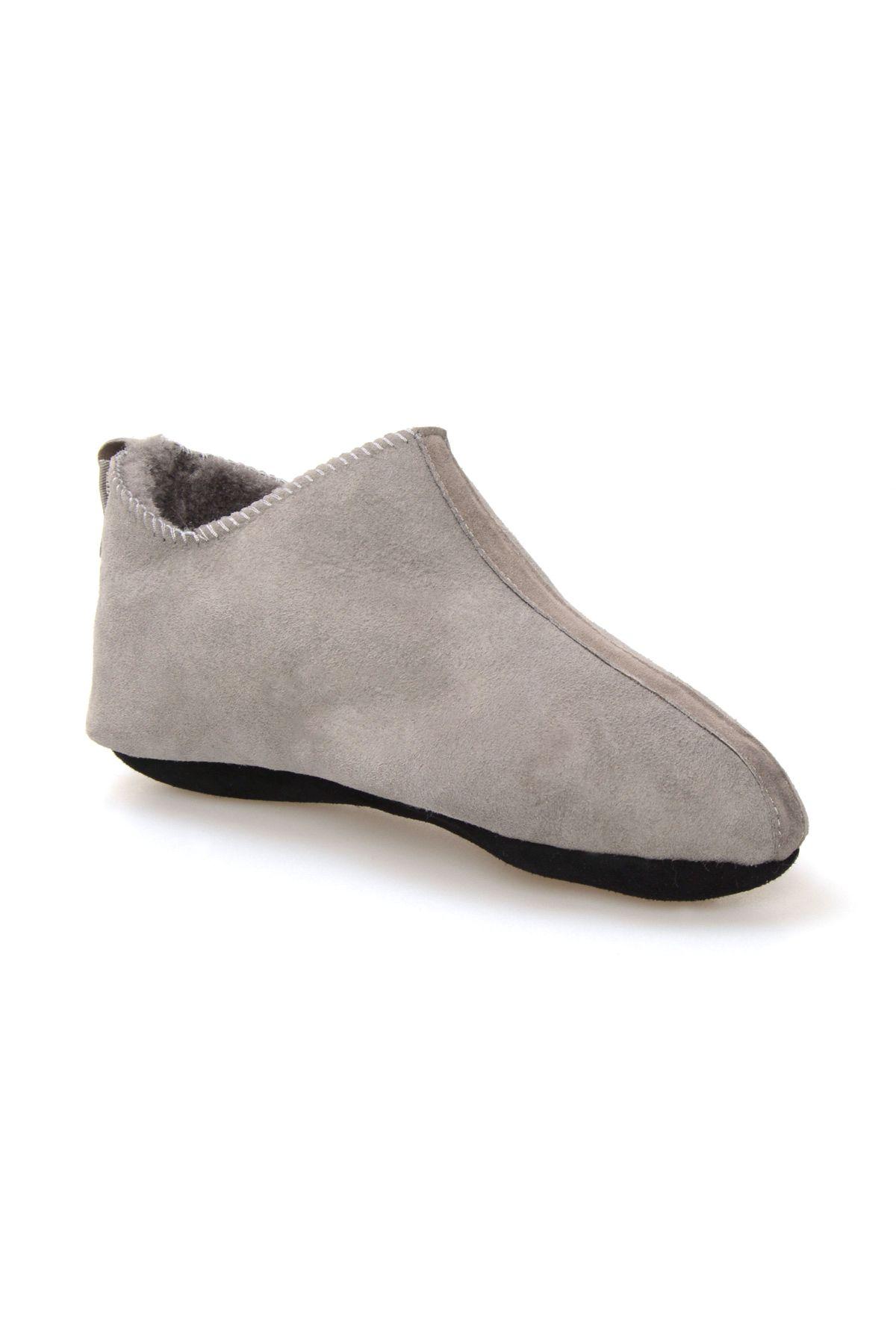 Pegia Hakiki Süet İçi Kürk Bayan Ev Ayakkabısı 191094 Açık Gri