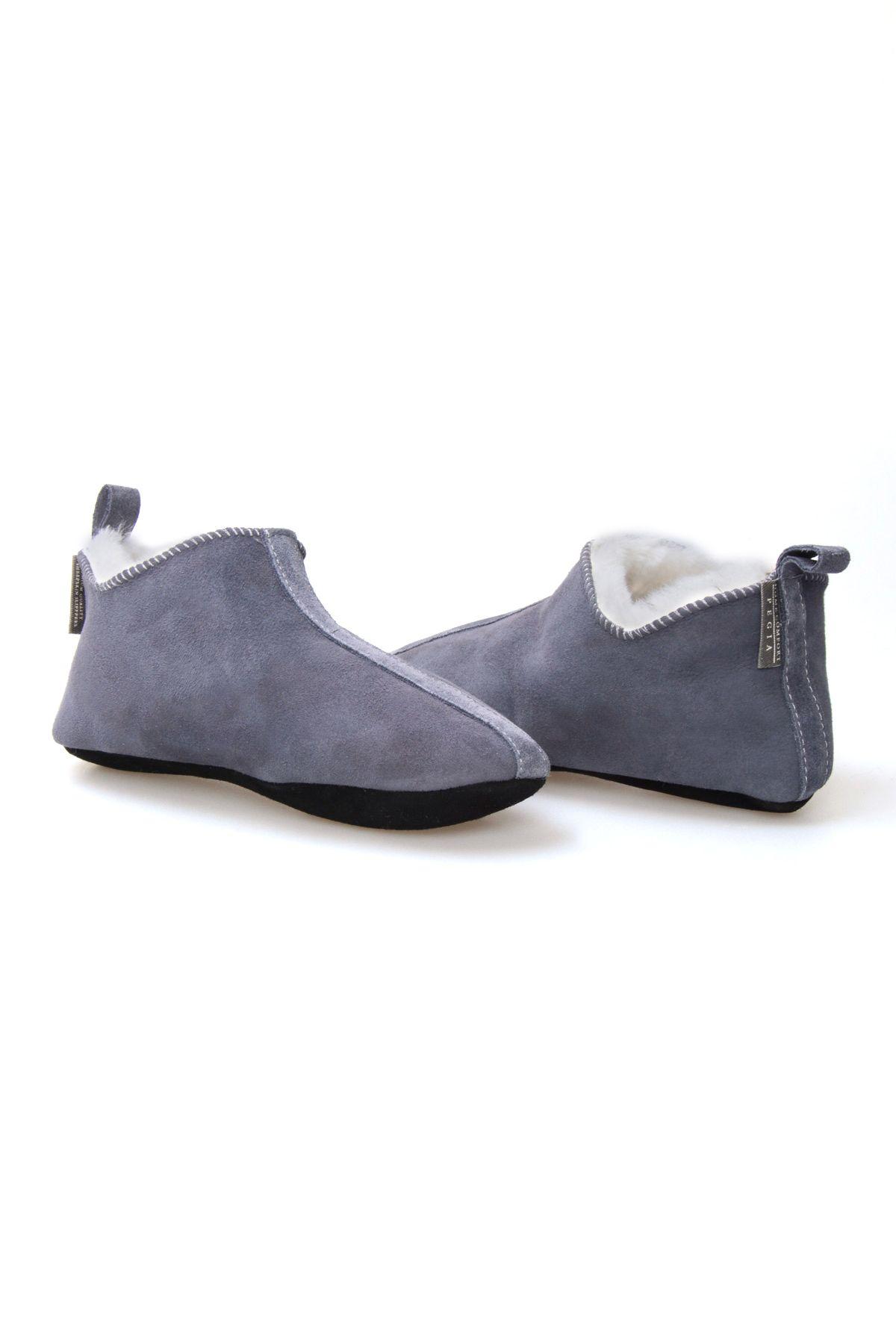 Pegia Женская Домашняя Обувь Из Натуральной Замши И Овечьего Меха 191094 Серый