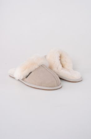 Pegia Women House Slippers From Genuine Suede And Sheepskin 191091 Beige