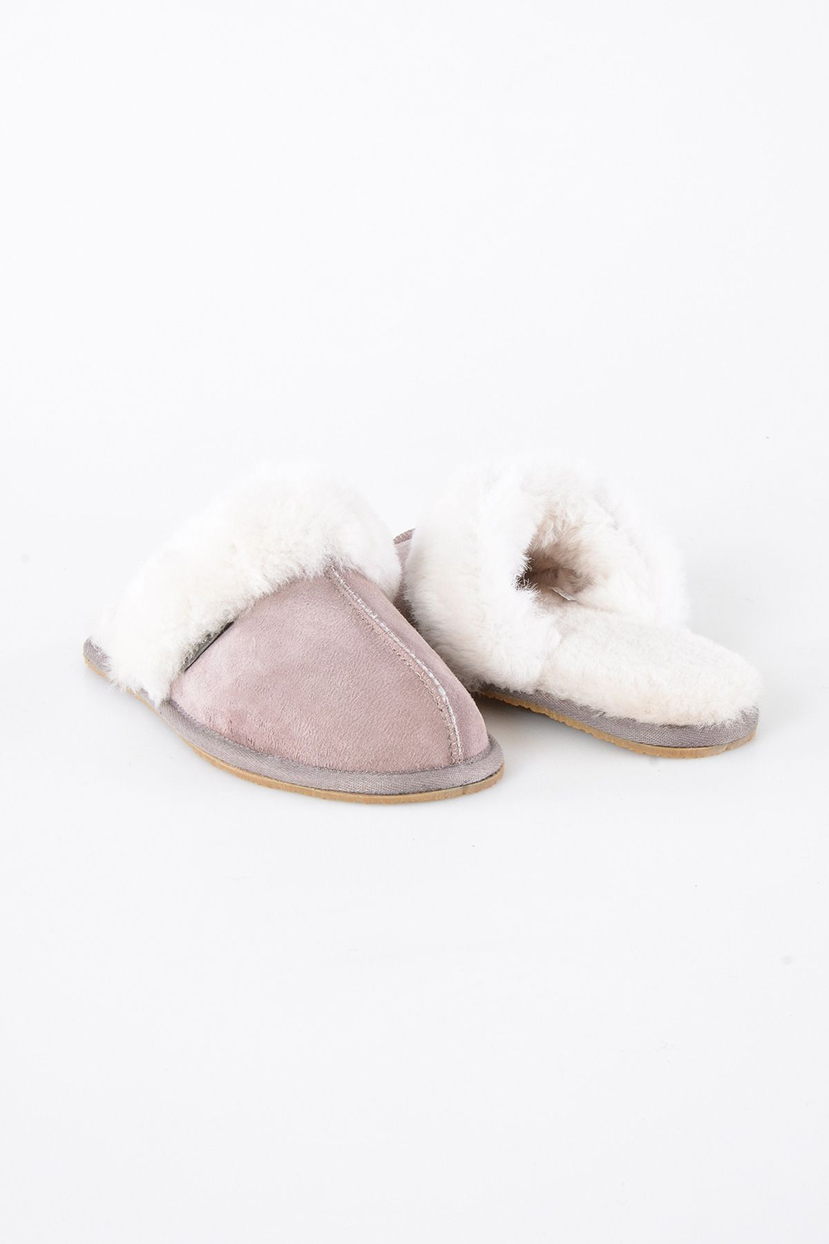 Pegia Women House Slippers From Genuine Suede And Sheepskin 191091 Powdery