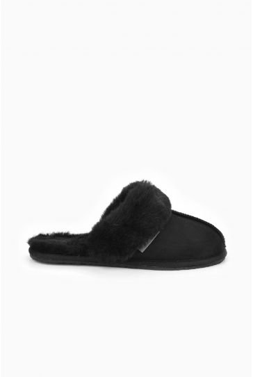Pegia Women House Slippers From Genuine Suede And Sheepskin 191091 Black