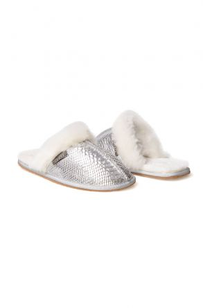 Pegia Women House Slippers From Genuine Suede And Sheepskin 191091 Silver