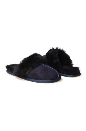 Pegia Women House Slippers From Genuine Suede And Sheepskin 191091 Navy blue
