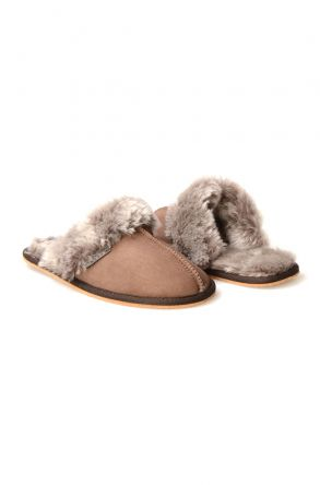 Pegia Women House Slippers From Genuine Suede And Sheepskin 191091 Visone