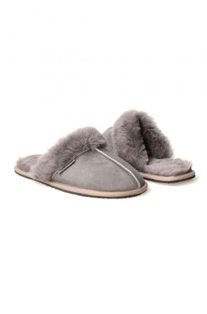Pegia Women House Slippers From Genuine Suede And Sheepskin 191091 Gray