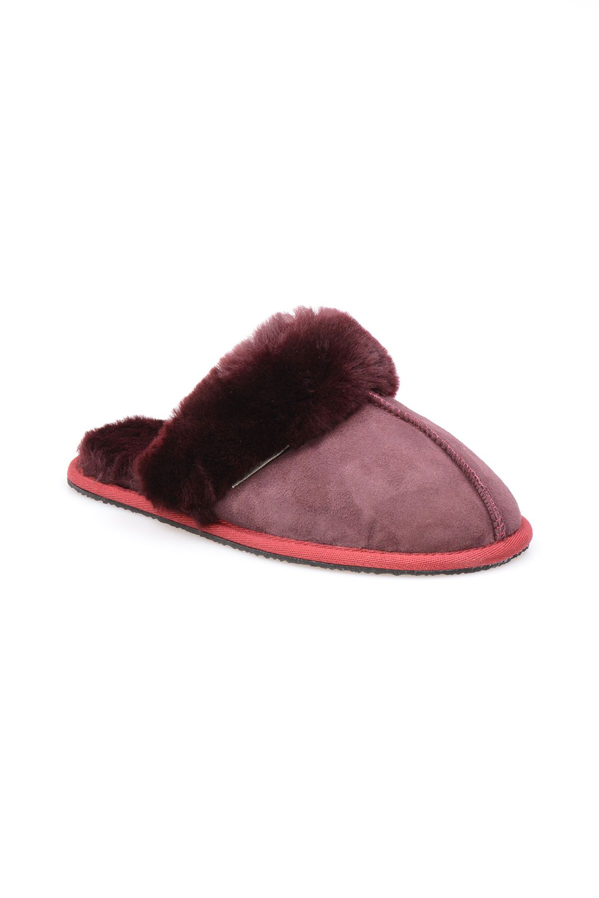 Pegia Women House Slippers From Genuine Suede And Sheepskin 191091 Claret red