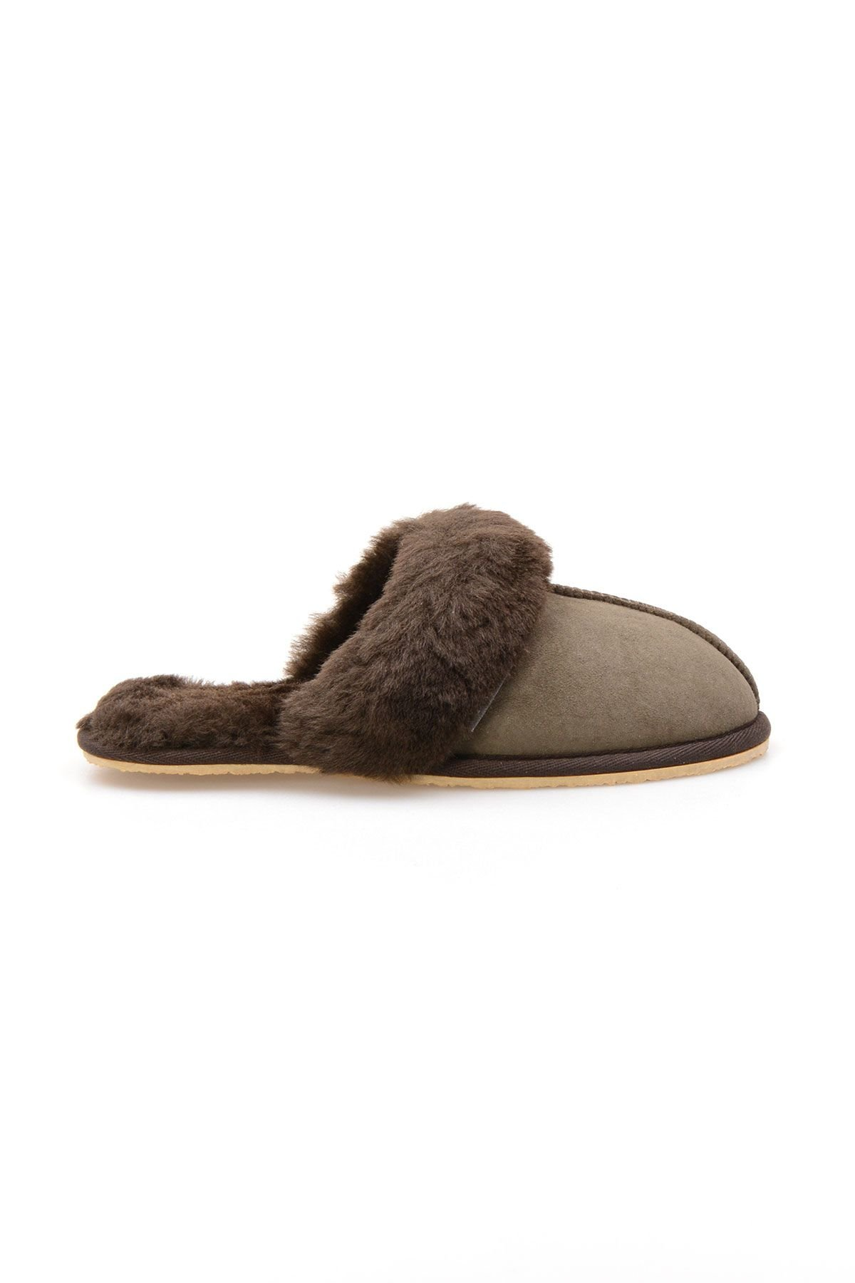 Pegia Women House Slippers From Genuine Suede And Sheepskin 191091 Khaki