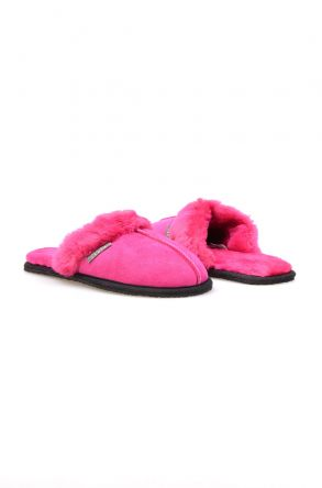 Pegia Women House Slippers From Genuine Suede And Sheepskin 191091 Magenta