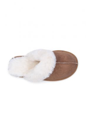 Pegia Women House Slippers From Genuine Suede And Sheepskin 191091 Sand-colored