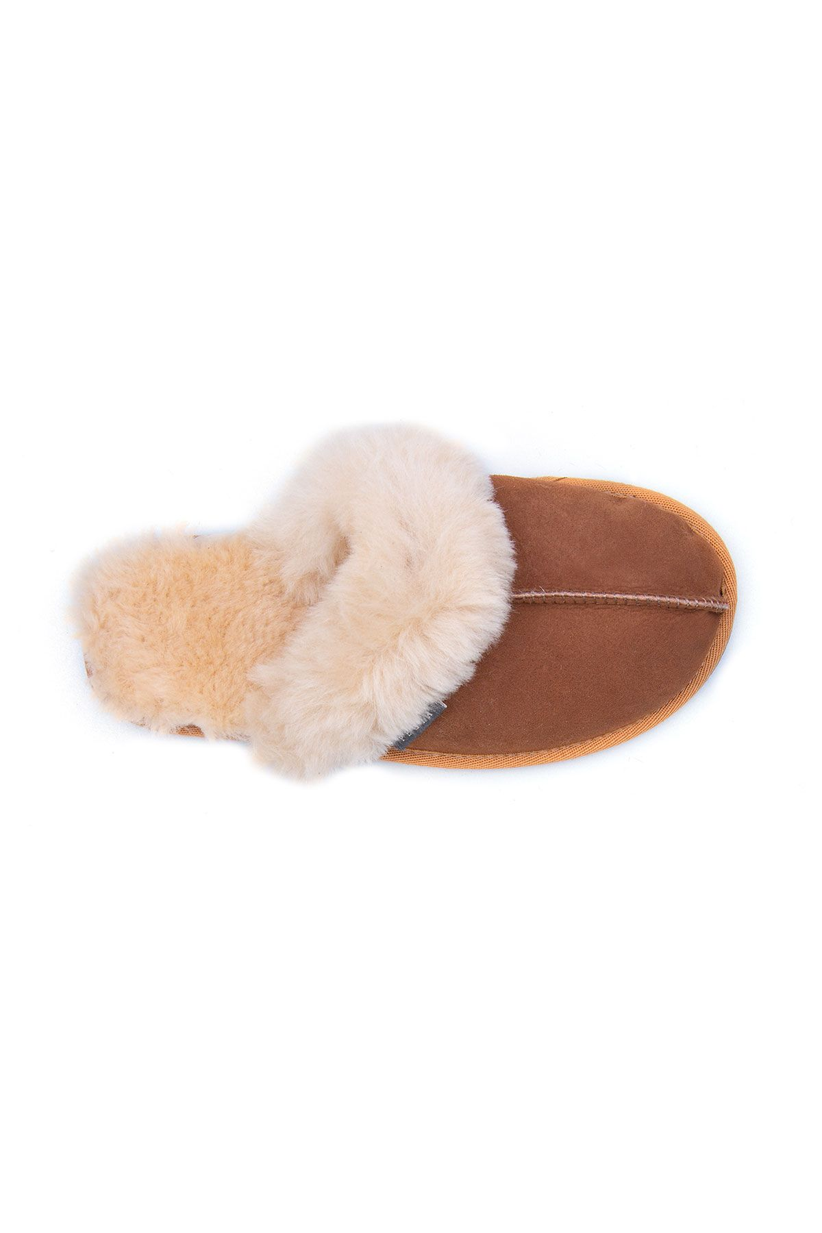 Pegia Women House Slippers From Genuine Suede And Sheepskin 191091 Ginger