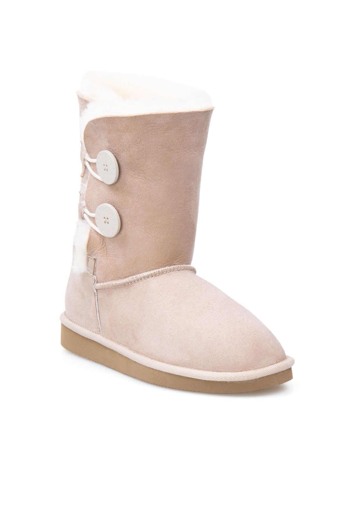 Pegia Women Boots From Genuine Suede And Sheepskin Fur Decorated With Snaps Beige