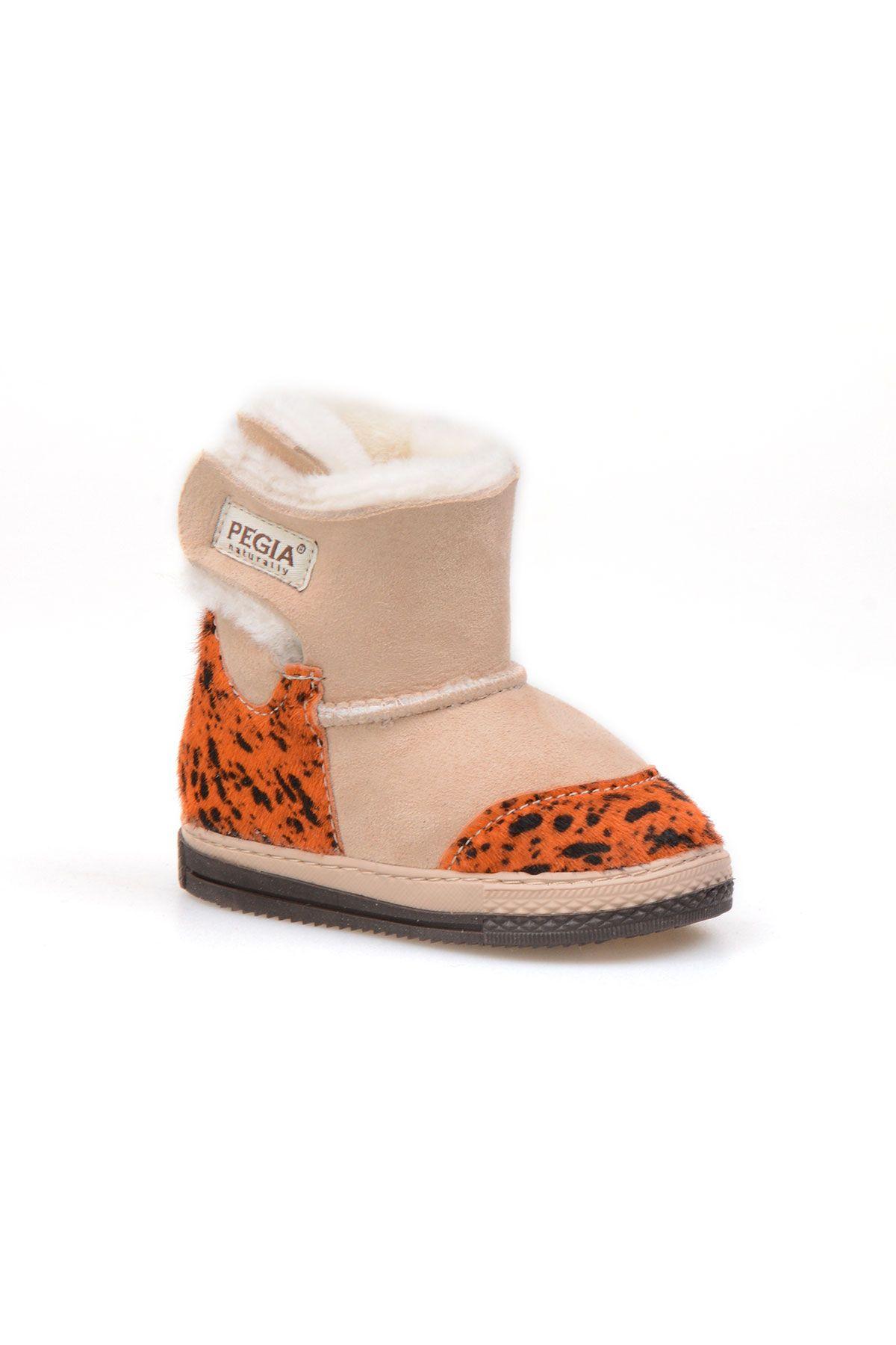 Pegia Genuine Suede Sheepskin Lined Velcro Kid's Boots 186014 Orange