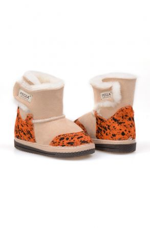 Pegia Genuine Suede Sheepskin Lined Velcro Kid's Boots 186014 Orange