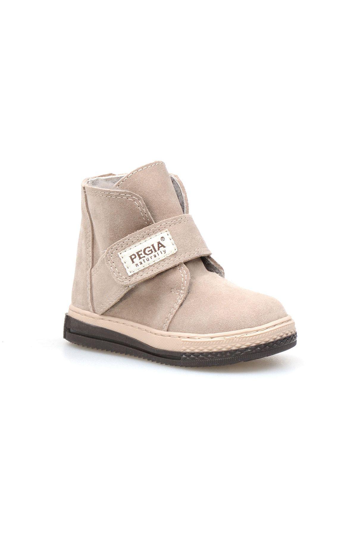 Pegia Genuine Suede Sheepskin Lined Kid's Boots 186019 Beige