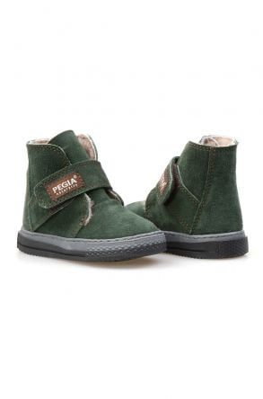 Pegia Genuine Suede Sheepskin Lined Kid's Boots 186020 Dark-green