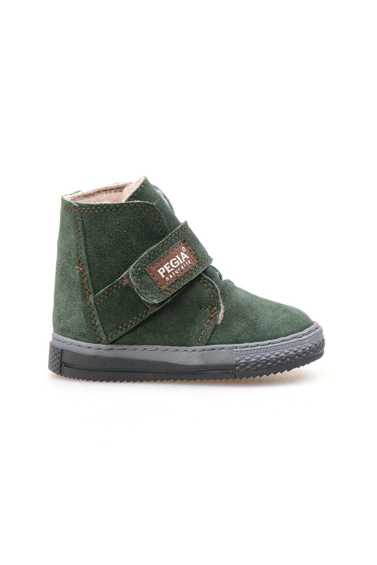 Pegia Genuine Suede Sheepskin Lined Kid's Boots 186020 Dark-green