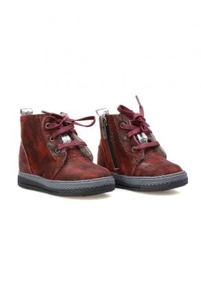 Pegia Genuine Sheepskin Lined Kid's Boots 186026 Claret red