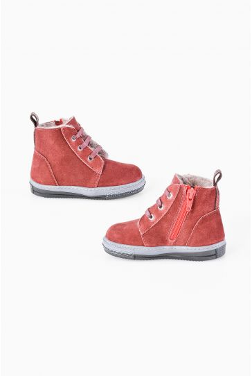 Pegia Genuine Suede & Shearling Baby's Boots 186001 Claret red