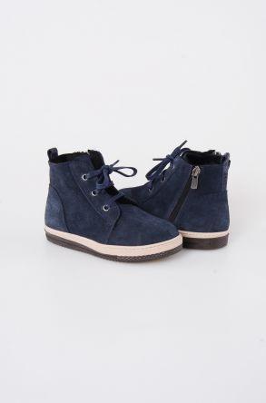Pegia Детские Ботинки Из Натуральной Замши Овечьего Меха 186001 Темно-синий
