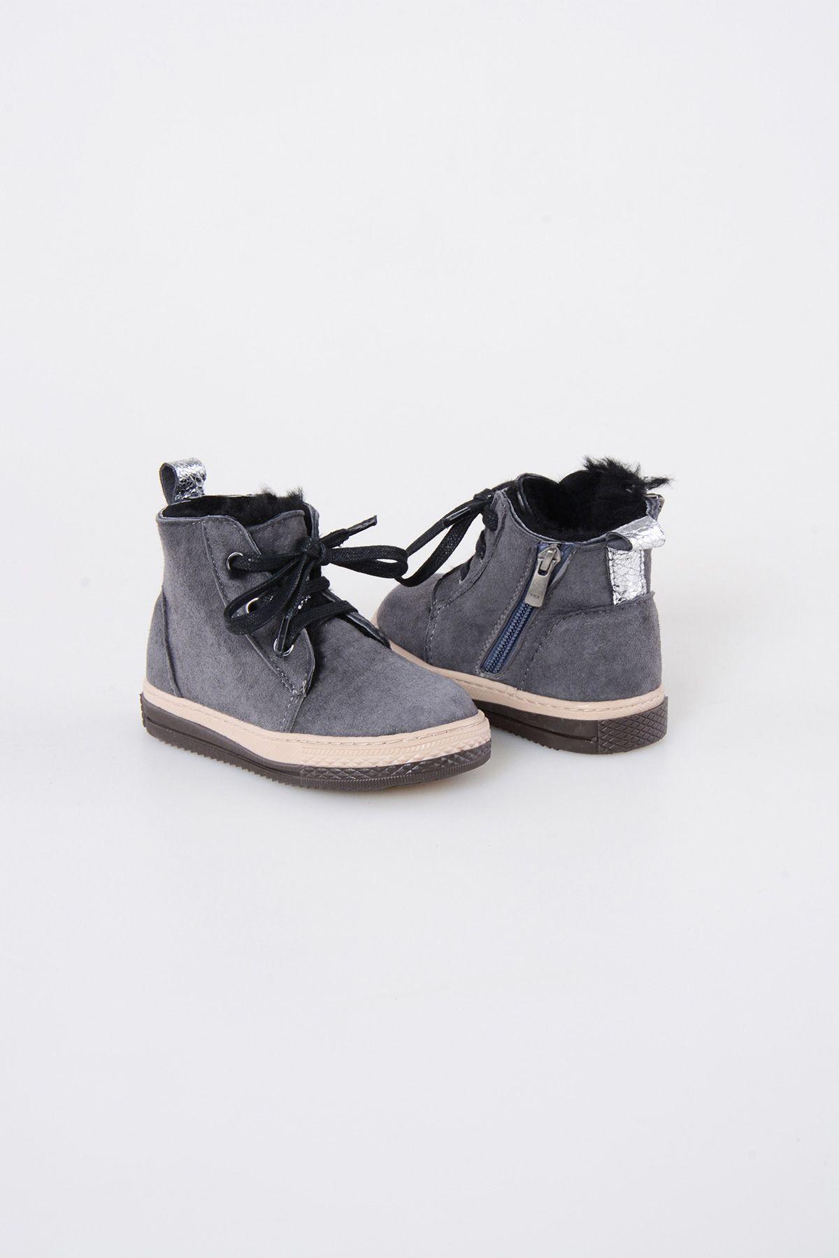 Pegia Детские Ботинки Из Натуральной Замши Овечьего Меха 186001 Серый