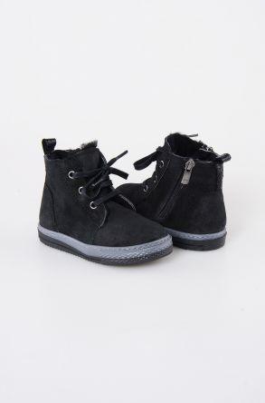 Pegia Детские Ботинки Из Натуральной Замши Овечьего Меха 186001 Черный