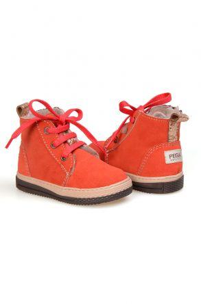 Pegia Детские Ботинки Из Натуральной Замши Овечьего Меха 186001 Оранжевый