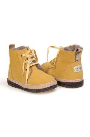 Pegia Детские Ботинки Из Натуральной Замши Овечьего Меха 186001 Желтый