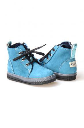 Pegia Детские Ботинки Из Натуральной Замши Овечьего Меха 186001 Голубой