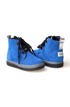 Pegia Детские Ботинки Из Натуральной Замши Овечьего Меха 186001 Синий