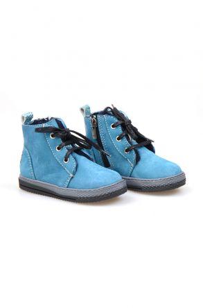 Pegia Genuine Suede & Shearling Baby's Boots 186001 Aqua