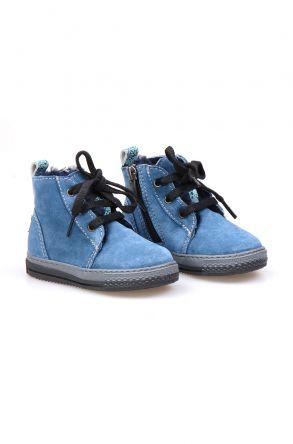 Pegia Genuine Suede & Shearling Baby's Boots 186001 Koyu Mavi