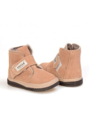 Pegia Genuine Suede Sheepskin Lined Kid's Boots 186010 Sand-colored