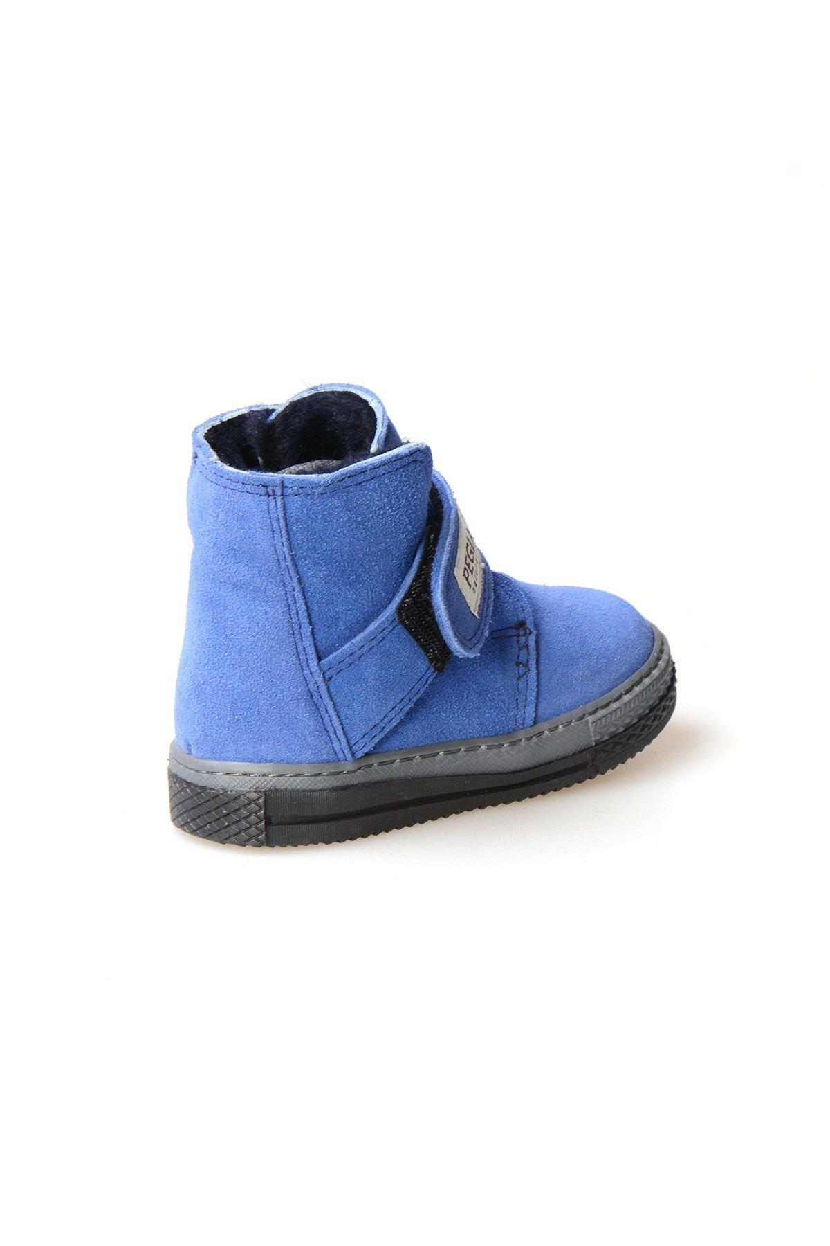 Pegia Genuine Suede Sheepskin Lined Kid's Boots 186010 Koyu Mavi
