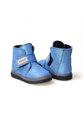 Pegia Genuine Suede Sheepskin Lined Kid's Boots 186010 Blue