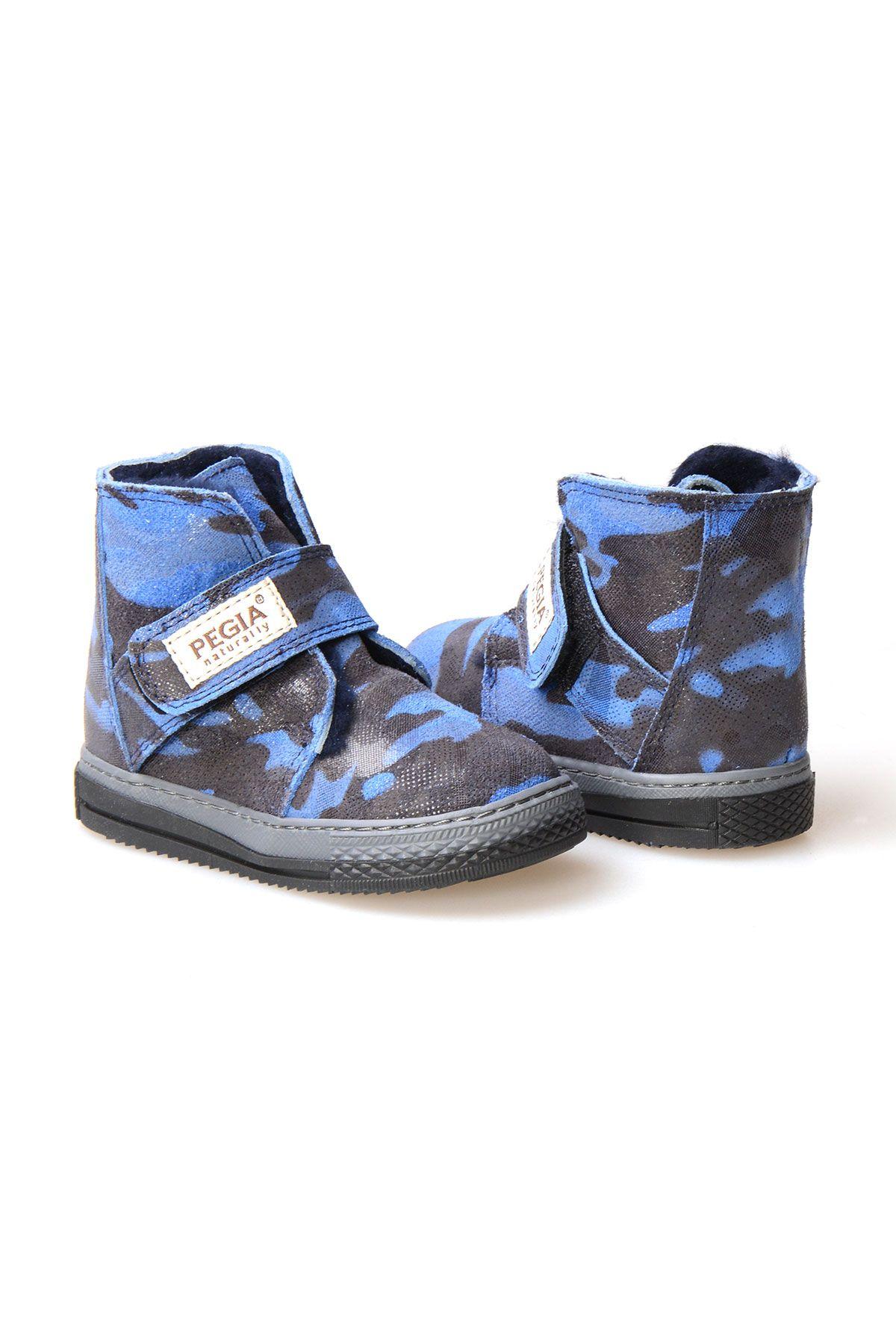 Pegia Genuine Suede Sheepskin Lined Kid's Boots 186010 Indigo-blue