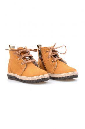 Pegia Genuine Sheepskin Lined Kid's Boots 186021 Mustard