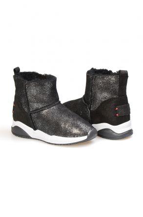 Pegia Замшевые Детские Спортивные Ботинки с Овчиной 185002 Черный