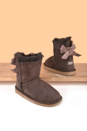 Pegia Kids Boots From Genuine Suede And Sheepskin Fur With Bow Brown