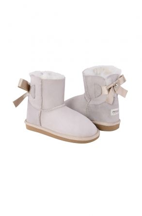 Pegia Kids Boots From Genuine Suede And Sheepskin Fur With Bow Powdery
