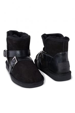 Pegia Women Boots From Genuine Suede And Sheepskin Fur Decorated With Belt 191081 Black