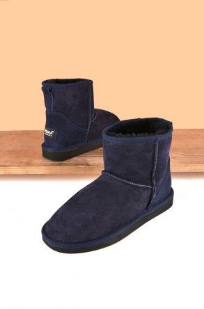 Pegia Short Genuine Suede & Sheepskin Women Boots From 191021 Navy blue