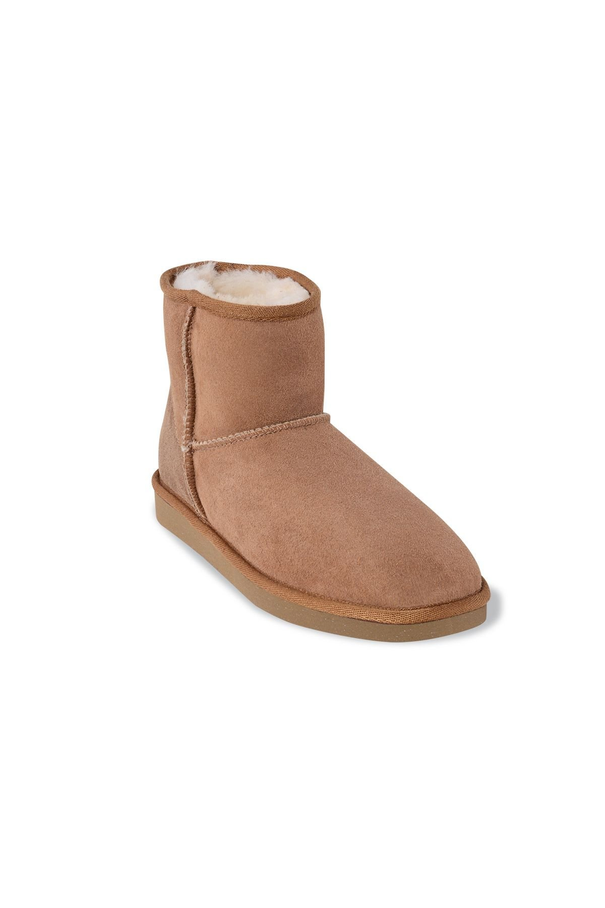 Pegia Short Genuine Suede & Sheepskin Women Boots From 191021 Sand-colored