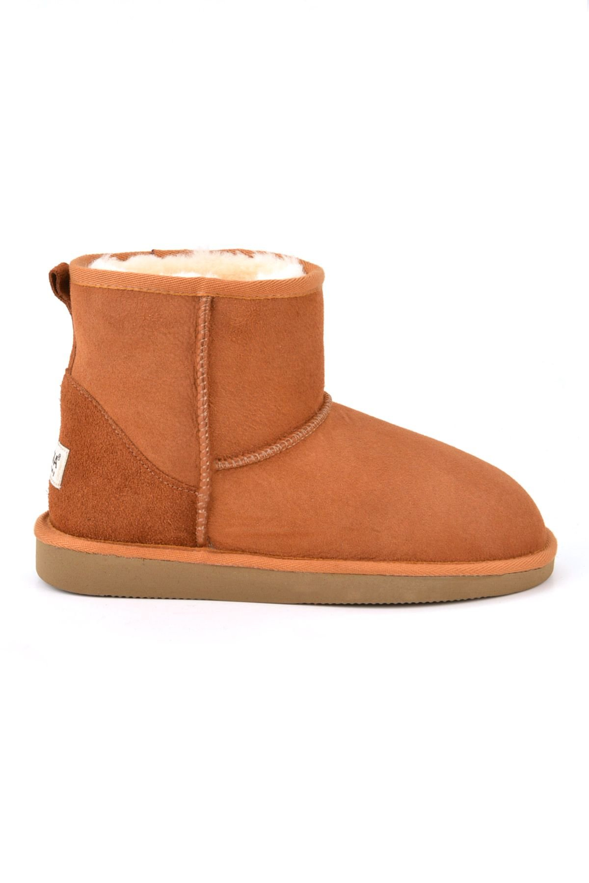 Pegia Short Genuine Suede & Sheepskin Women Boots From 191021 Ginger