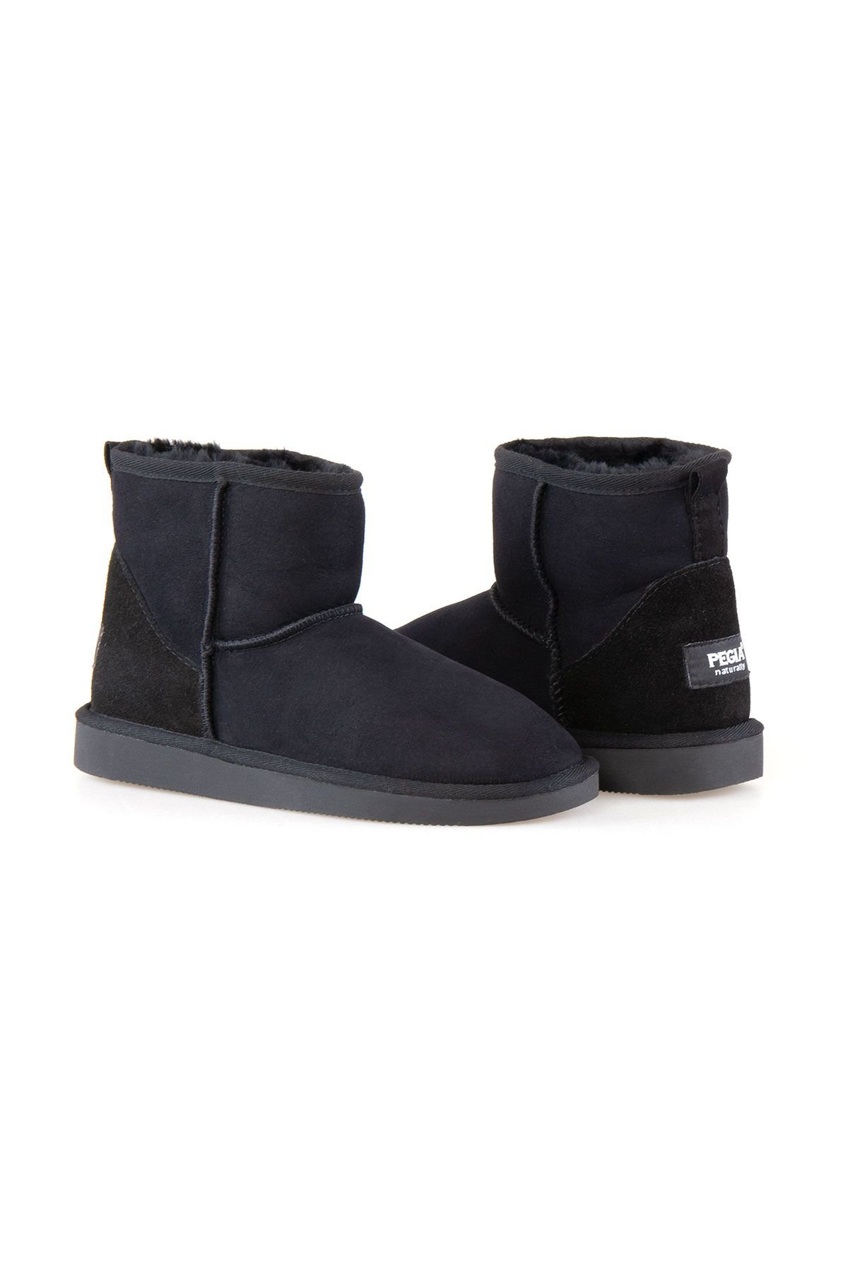 Pegia Short Genuine Suede & Sheepskin Women Boots From 191021 Black