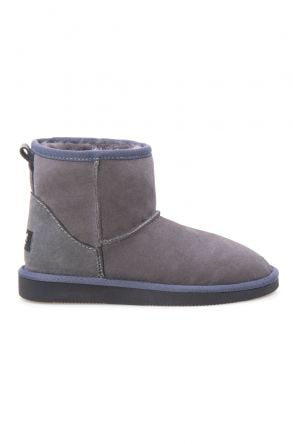 Pegia Short Genuine Suede & Sheepskin Women Boots From 191021 Gray