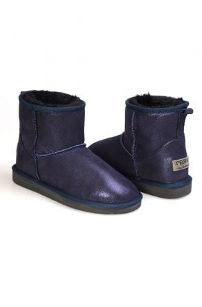 Pegia Genuine Suede Shearling Lined Classic Women's Ankle Boots 191048 Navy blue